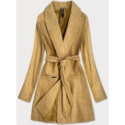 Klasický dámsky kabát žltý  (2715)
