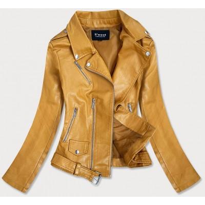Dámska koženková bunda žltá  (R16)
