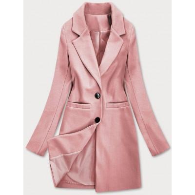 Klasický dámsky kabát ružový (25533)