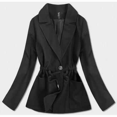 Krátky dámsky kabát čierny  (2727)
