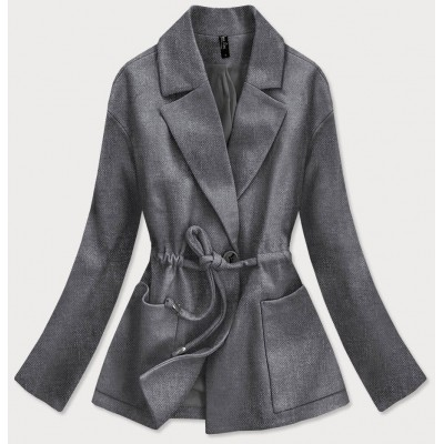 Krátky dámsky kabát tmavošedý (2727)