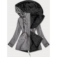 Obojstranná jarná bunda parka bielo-čierna (W506)