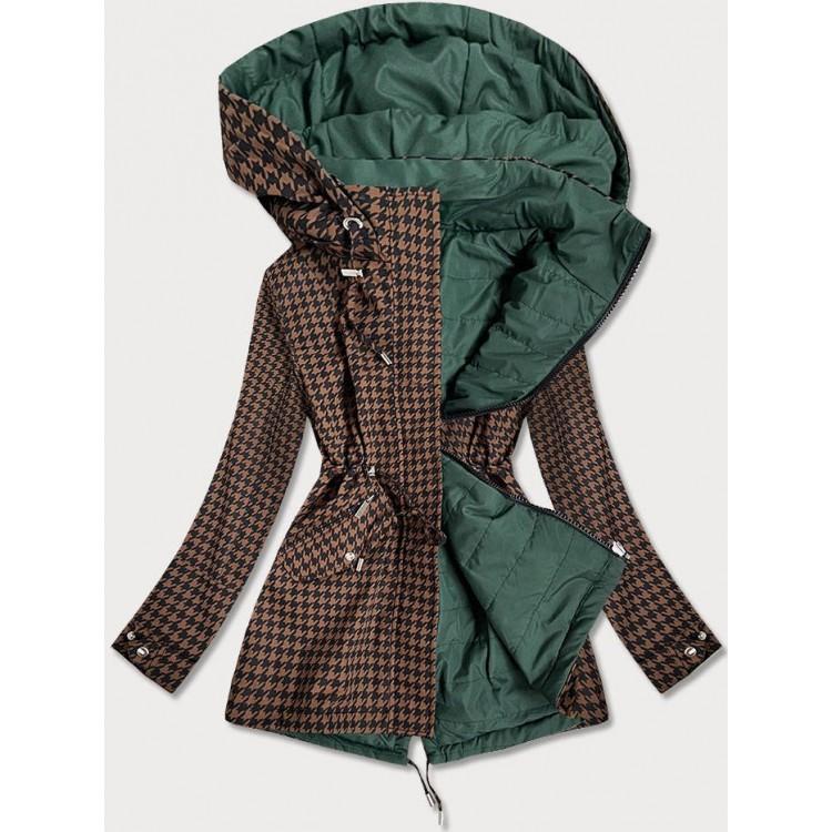 Obojstranná jarná bunda parka hnedo-zelená  (W506)