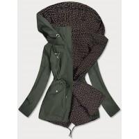 Dámska obojstranná jarná bunda khaki-hnedá  (W507BIG)