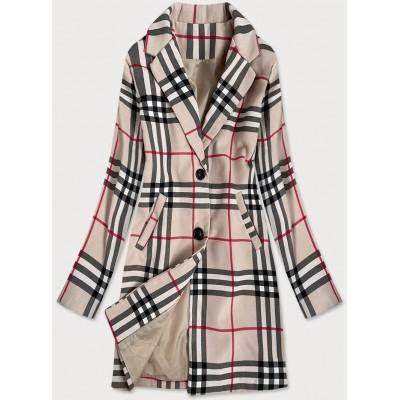 Klasický dámsky kabát béžový  (23162)