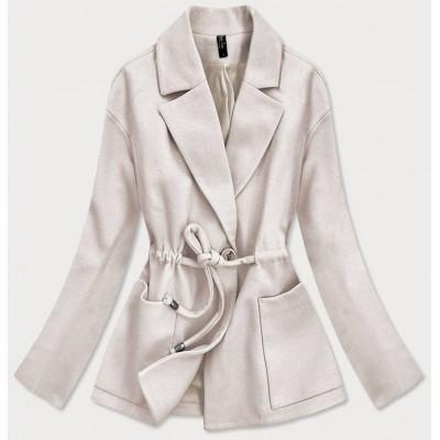 Krátky dámsky kabát ecru (2727)