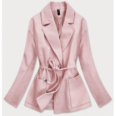 Krátky dámsky kabát ružový (2727)