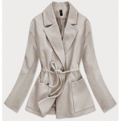 Krátky dámsky kabát béžový (2727)