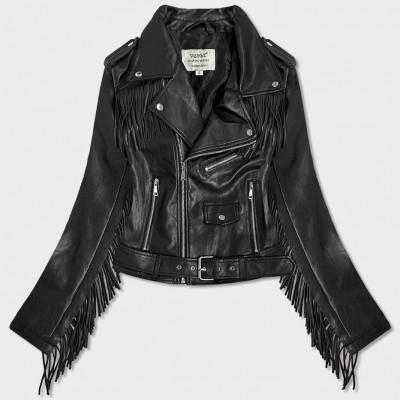 Krátka dámska koženková bunda so strapcami čierna  (V2978)