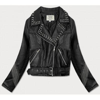 Dámska koženková bunda s reťazami čierna (V2979)