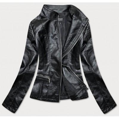 Dámska koženková bunda čierna (B13)