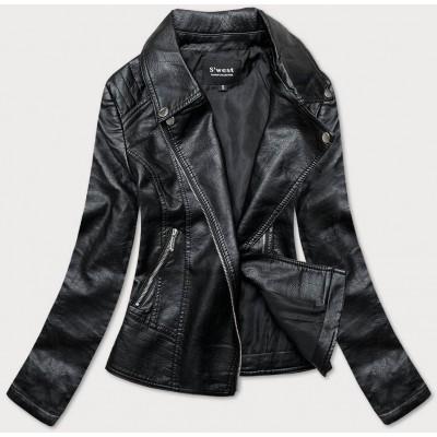 Dámska koženková bunda čierna  (B17)