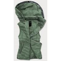 Prešívaná dámska vesta khaki (6307)