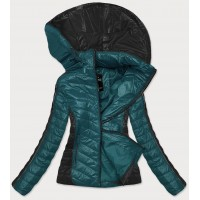 Dámska dvojfarebná bunda tyrkysovo-čierna  (6318)