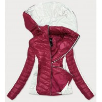 Dámska dvojfarebná bunda červena-ecru (6318)