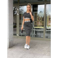 Dámsky športový komplet crop-top + sukňa čierny (21511)