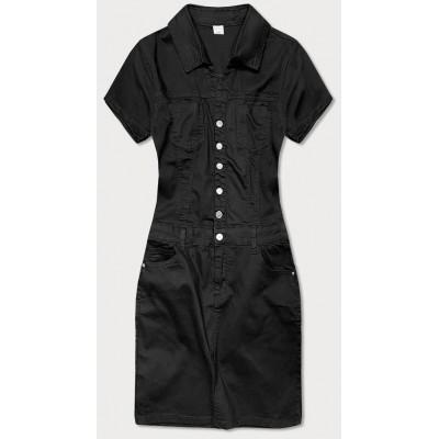 Dámske šaty s golierom čierne (GD6663)
