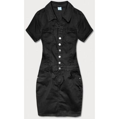 Dámske šaty s golierom čierne  (GD6661)
