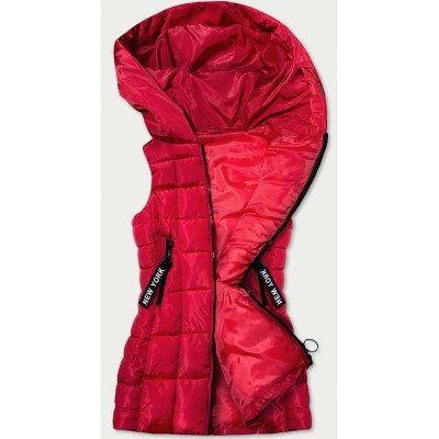 Dlhá dámska vesta červená (B9579-10)
