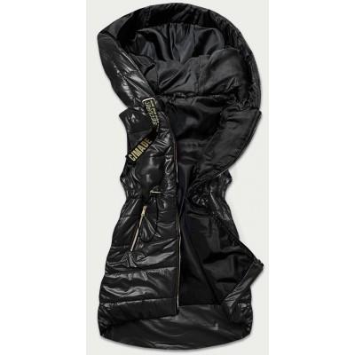 Lesklá dámska vesta čierna (B9732-10)