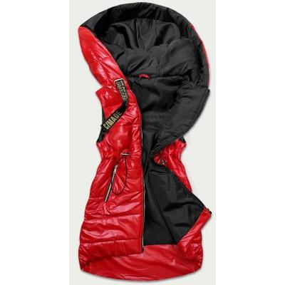 Lesklá dámska vesta červená (B9732-10)