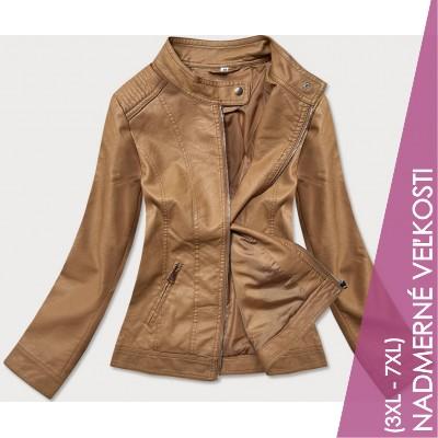 Dámska koženková bunda hnedá  (GV90-20)