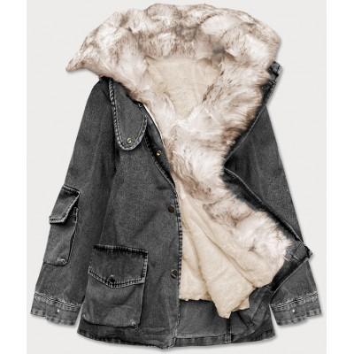 Dámska jeansová bunda s kožušinoučierno-béžová  (BR9585-1046)
