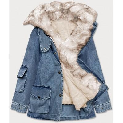 Dámska jeansová bunda s kožušinou modro-béžová  (BR9585-50046)