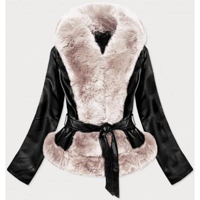 Dámska koženková bunda čierno-ecru (B9737-1046)