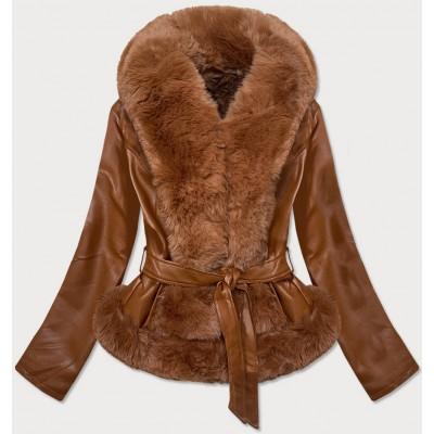Dámska koženková bunda hnedá  (B9737-12012)