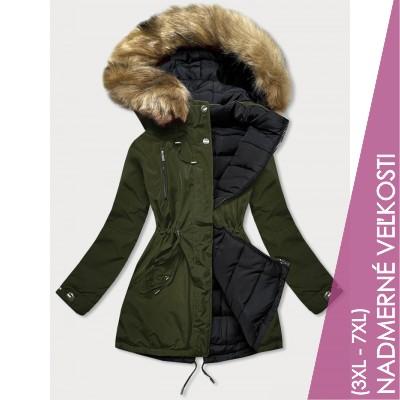 Obojstranná zimná bunda khaki-čierna  (W557-1BIG)