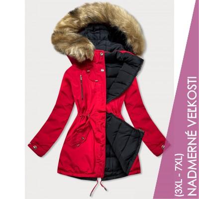 Obojstranná zimná bunda červeno-čierna  (W557-1BIG)