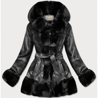 Dámska koženková bunda s kožúškom čierna  (5545)