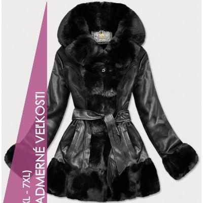 Dámska koženková bunda s kožúškom čierna  (5545BIG)