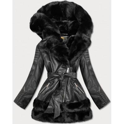 Dámska koženková zimná bunda čierna  (5544)