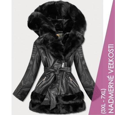 Dámska koženková zimná bunda čierna (5544BIG)