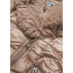 Prešívaná dámska zimná bunda béžová  (FM16-3)