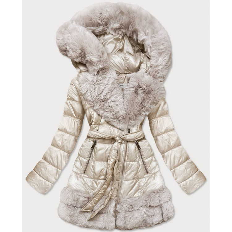 Prešívaná dámska zimná bunda ecru  (FM16-01)
