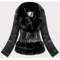 Dámska prešívaná koženkovú bunda čierna (5522)