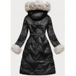 Dlhá dámska zimná bunda čierna-ecru  (772)