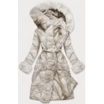Dlhá dámska zimná bunda ecru  (772)