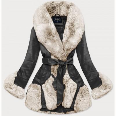 Elegantná koženková zimná bunda čierno-ecru (FL202018)
