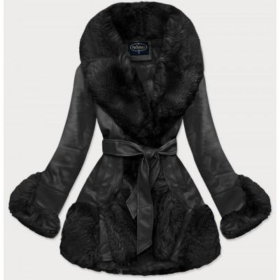 Elegantná koženková zimná bunda čierna (FL202018)