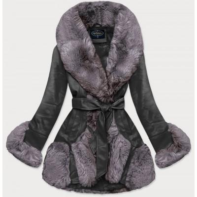 Elegantná koženková zimná bunda čierno-šedá  (FL202018)