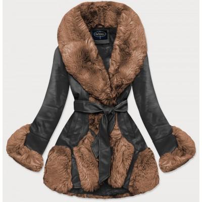 Elegantná koženková zimná bunda čierno-hnedá (FL202018)