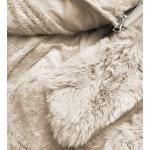 Elegantná koženková zimná bunda béžová (FL202018)