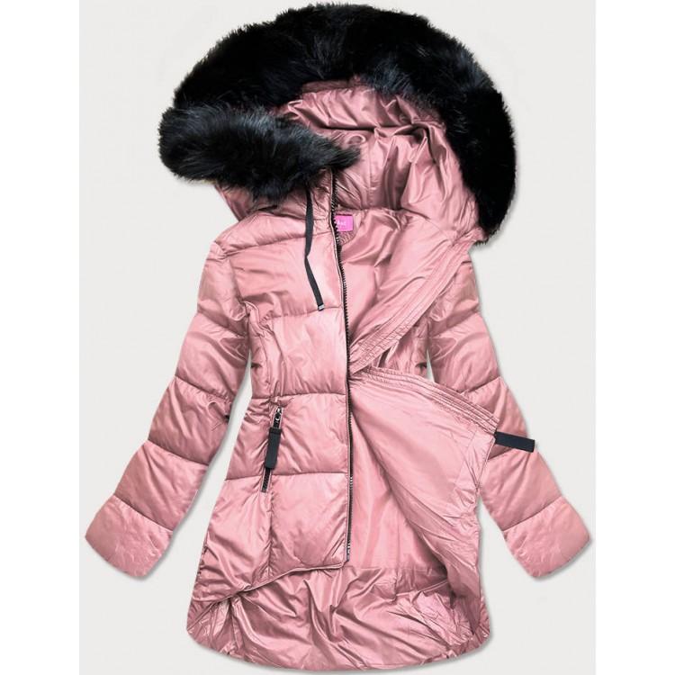 Dámska asymetrická zimná bunda ružová (8953-R)