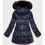 Dámska asymetrická zimná bunda tmaomodrá  (8953-E)