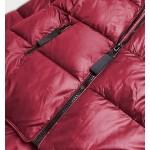 Dámska asymetrická zimná bunda bordová (8953-B)