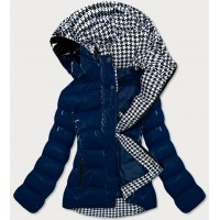 Dámska prešívaná zimná bunda tmavomodro-biela (W807#)
